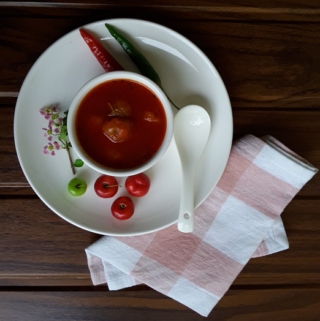 Acerola cherry (also called Barbados, West Indian, Wild Crepe Myrtle cherry, Malpighia Emarginata) hot and tangy dipping curry