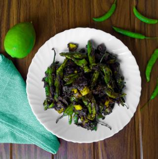 Konkani green chili pickle / Mirsanga nonche