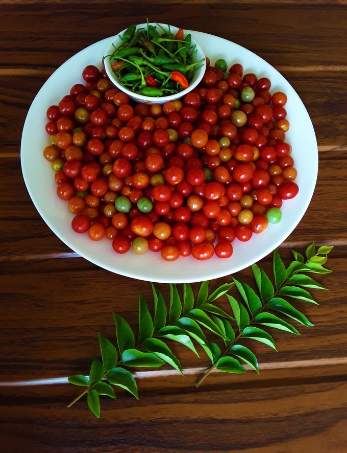 Cherry Tomatoes with bird's eye chilies and curry leaves