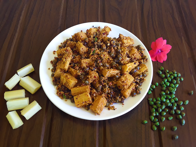 Kobba Sukke - Hot, sweet and savory sugarcane chickpea stir-fry. A traditional Konkani gourmet recipe.