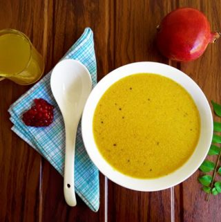 Dalimba Solla Khadi - Konkani Pomegranate Peel Pouring Curry (Gluten Free)