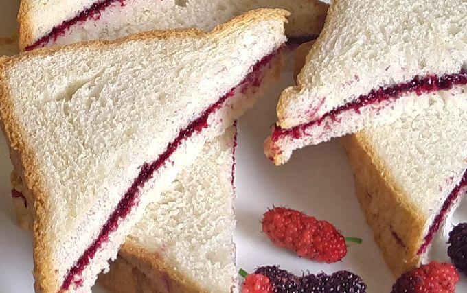 Scrumptious mulberry jam sandwiches