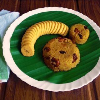 Sweet Khichadi accompanied by sliced ripe Nendran bananas.