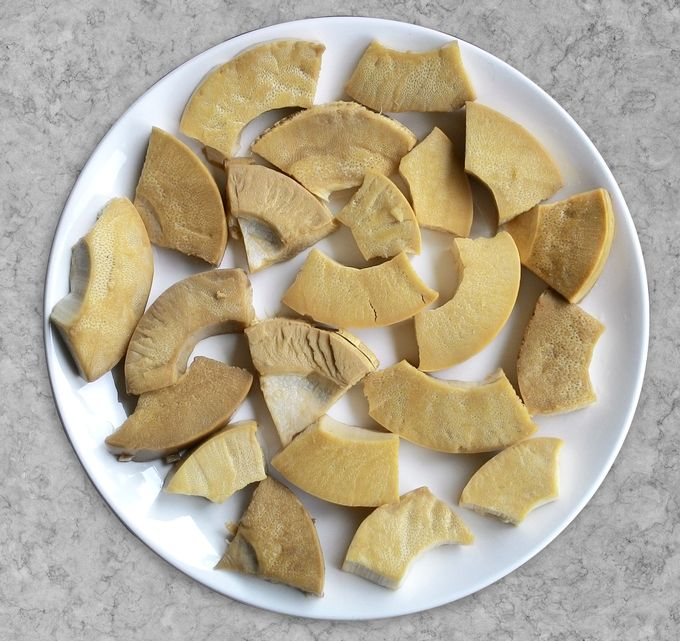 3 year old. salted tender bamboo chunks.