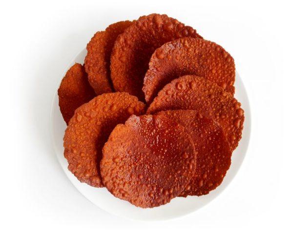 Mirsange Happolu / Chili Papad / Chile Papad / Mulaku Papadam / Mulake Papadum / Appalam / Happala / മുളക് പപ്പടം on a plate.