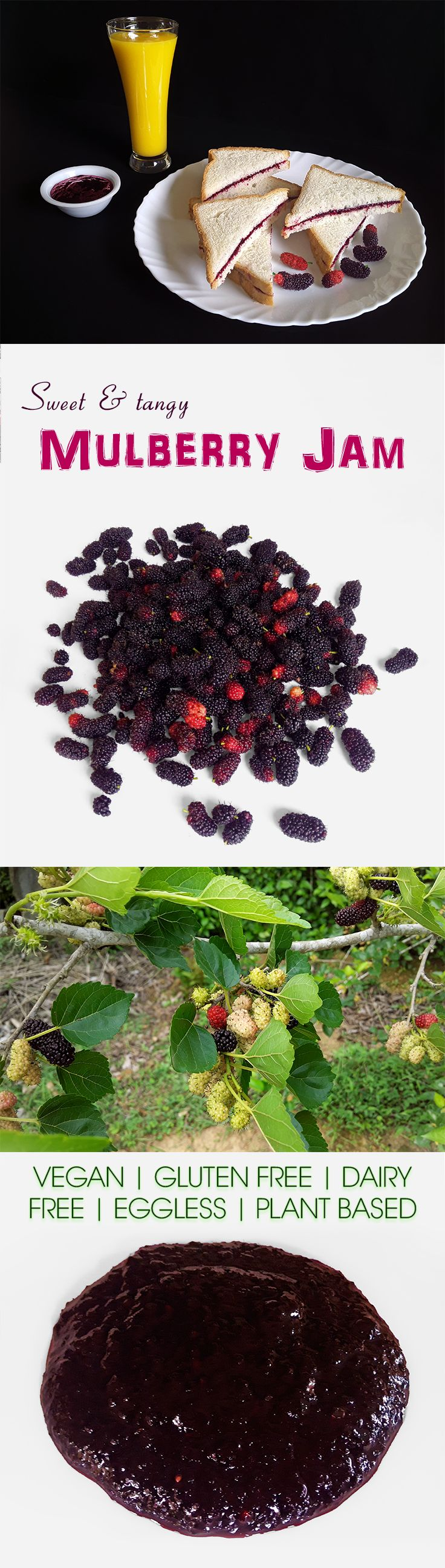 Mulberry Jam - A superbly delicious, quick and easy to cook, tangy, mouthwatering mulberry jam for marvelous gourmet sandwiches or for dessert.